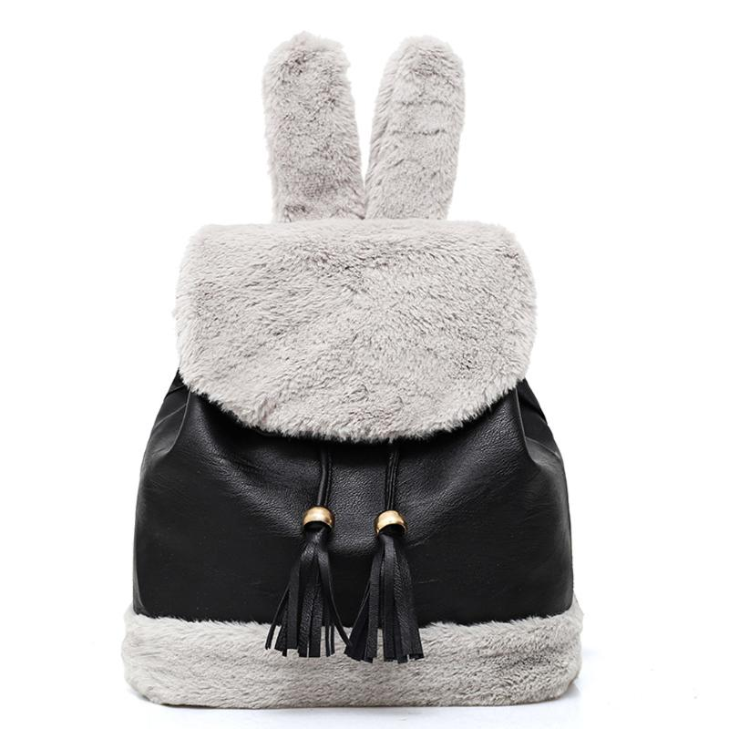 Pb Peggybuy Girls New Arrive Rabbit Bunny Ears Backpacks Cotton Plush Backpack Felt Bag Cute Women Backpack Cartoon Bag Rucksack