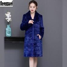 Nerazzurri Long warm soft faux fur coat women lapel Winter striped Sapphire blue furry fluffy fake mink fur jackets for women