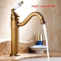 11 inch height Bathroom Sink Faucet rotation Antique Brass Single Handle/Hole Mixer Taps with art ceramic handle