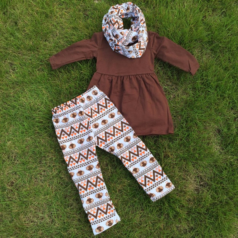 FALL OUTFITS girls 3 pieces sets with scarf girls thanksgiving pant sets  girls boutique clothes kids brown top sets 58b7d0228