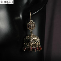Old Handmade Nepal 925 Silver Earrings Vintage 925 Sterling Bohemia Women Earrings Ethnic Flower Dangle Earrings
