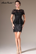 Short Formal Women's Dress Sheath O Neck Short Sleeve Black Lace Mother of the Bride Dress fashionable plunging neck short sleeve embroidered lace spliced dress for women