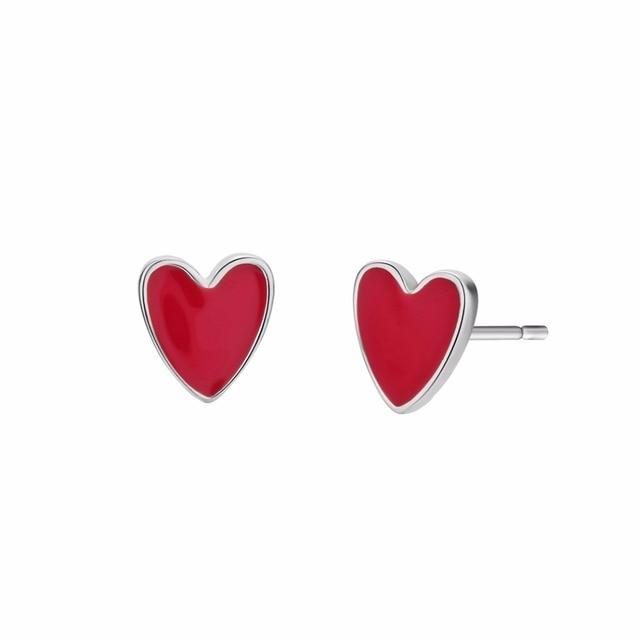 CHENGXUN Романтический Для женщин серьги Горячие красные сердца леди серьги стержня для любителей день Святого Валентина best подарок пару Юбилей