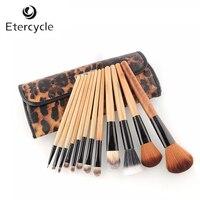 Neue 12 STÜCKE Professionelle Make-Up Pinsel Set Kosmetik Pinsel Augenbrauenstift Lippenkontur Leopard Mit Halter Tasche