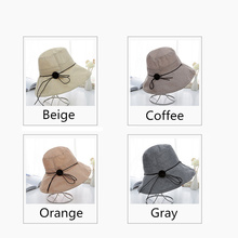 Summer Anti-UV Women s Sun Hat Wood Buckle Tether Decor Collapsible Hat  Beach Caps Head Circumference Curved Brim Wind Cap 97714341a4a8