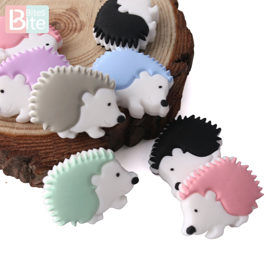 Bite Bites Animal Silicone Beads Porcupine Teething Pacifier Chain BPA Free Perle Silicone Food Grade Cartoon Baby Teether 3pc
