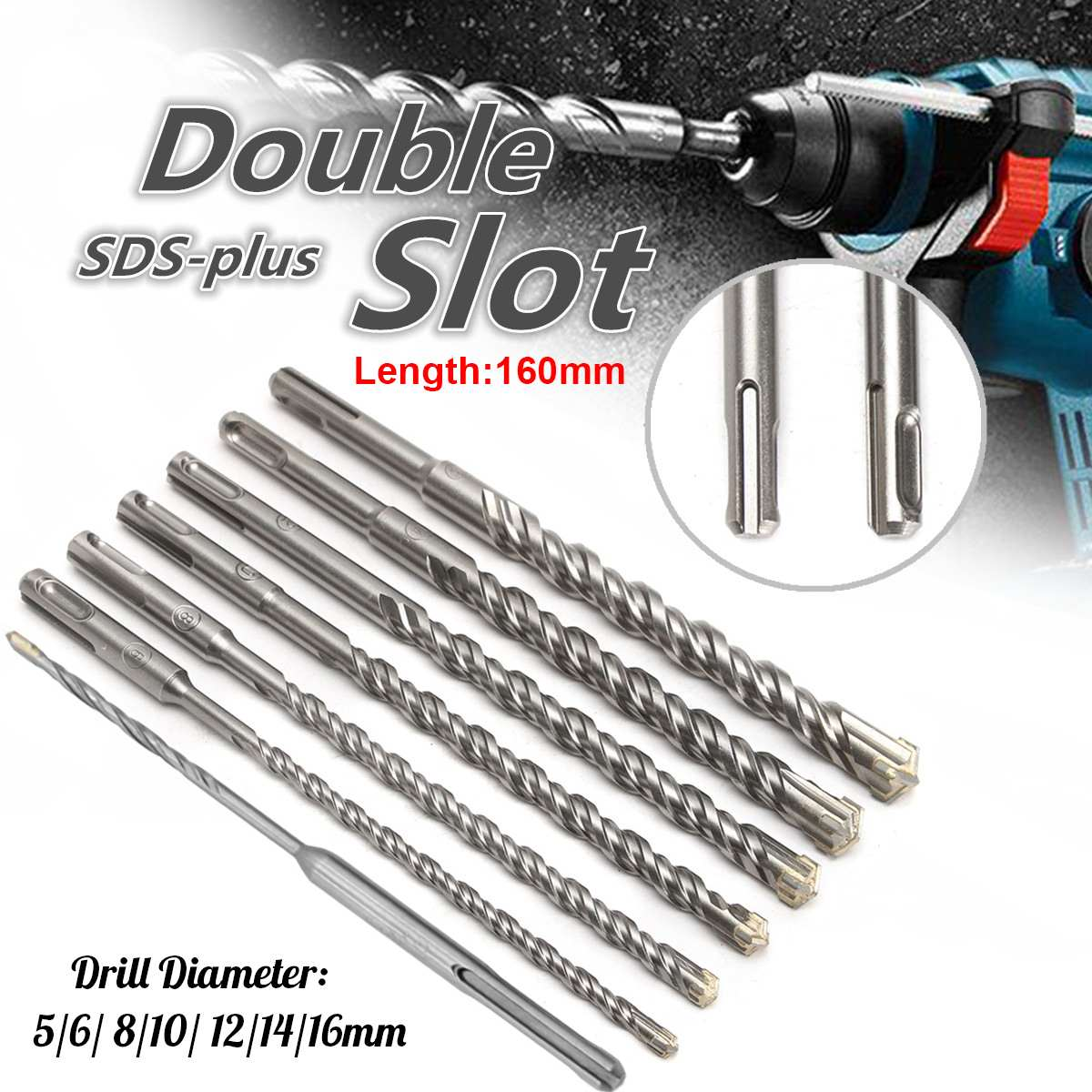 160mm Concrete Drill Bit Double SDS Plus Slot Masonry Hammer Head Tool 5-16mm High Speed White Steel Wrench For Electric Drills