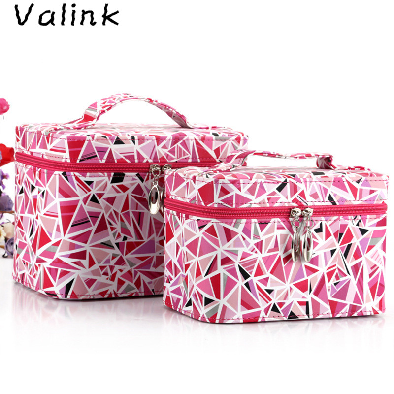 Valink 2Pcs Brand New Women Cosmetic Bag Multifunctional Makeup Organizer Bag Travel Bag Pouch Bags Clutch Beauty Storage Box