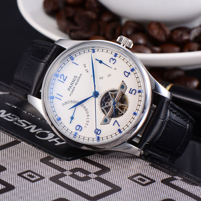 лучшая цена 43mm Parnis white dial calendar Power Reserve Automatic men watch Seagull movement