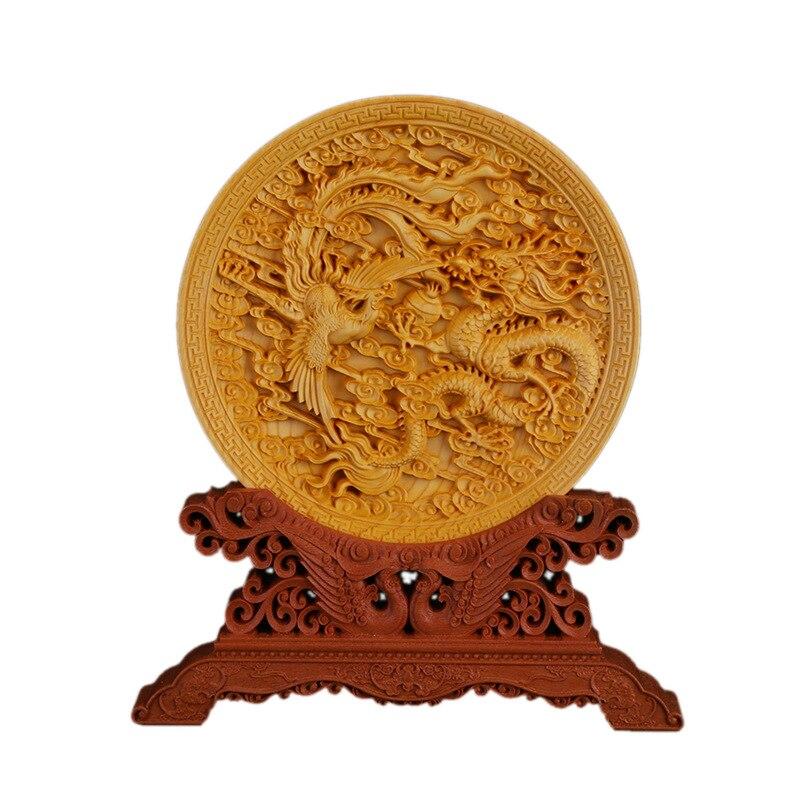 Rond sculpté Phoenix image Dragon jouer perle figue décoration créative entreprise maison buis sculpture véhicule bois Statue R1613