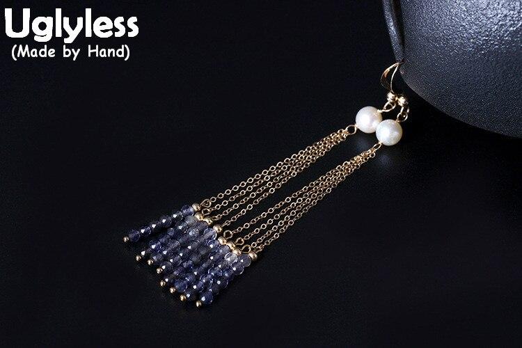 Uglyless Real S 925 argent Sterling femmes chaînes ethniques glands boucles d'oreilles perles naturelles Brincos cristaux exotiques perles bijoux
