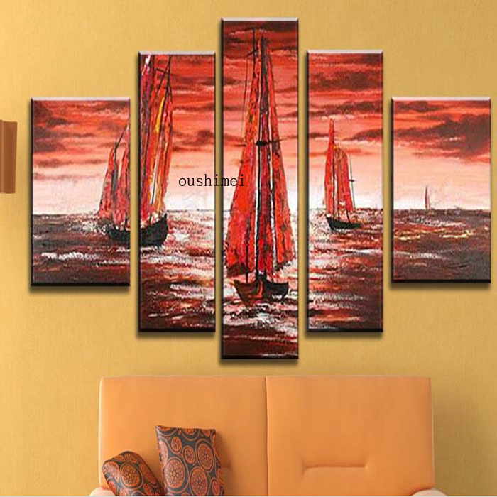 Hand Painted High Quality Oil Painting Abstract Boat
