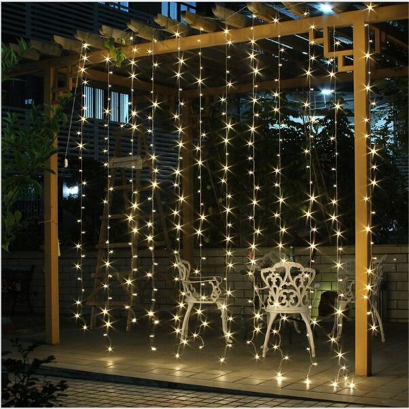 220V/110V LED Curtain String 3x3m 300LED icicle String Light Holiday Wedding Party Christmas Decoration Garland Lights