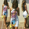 Летом Стиль Vestidos Халат 2016 Мультфильм Печати Печатные Bodycon Backless Dress Женщины Симпатичные Экипировка Партия Тонкий Мода Повседневная Платья