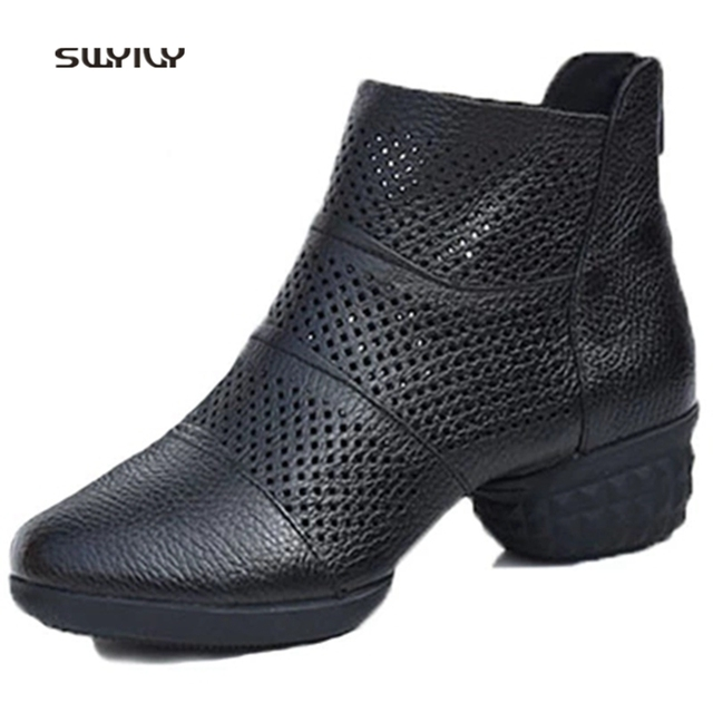 SWYIVY Women Modern Dance Shoes Genuine Leather Breath 2018 Large Size41 Square Dance Shoes Light Weight Female Sneakers