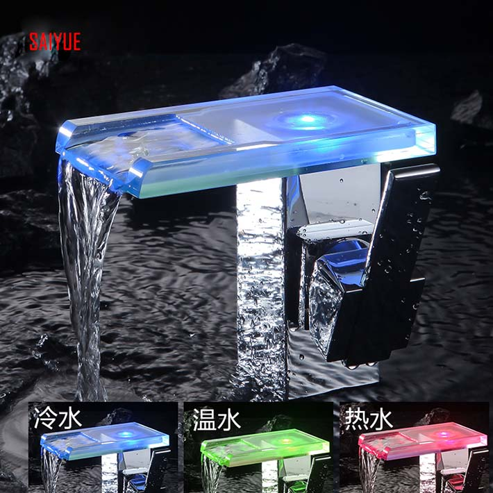 Wholesale And Retail Polished Chrome LED Waterfall glass Spout Bathroom Basin Faucet Modern Square Sink Mixer Tap(water power)