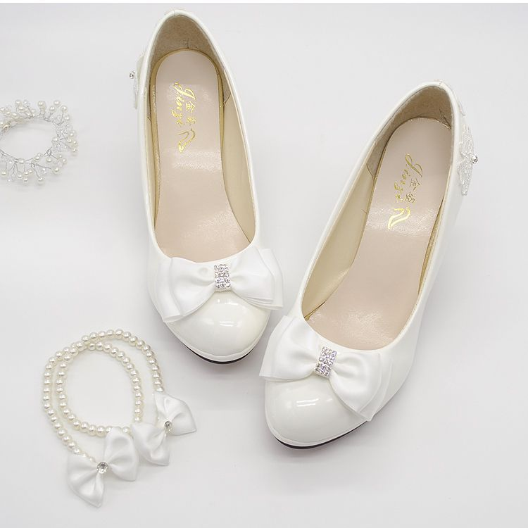 Wedding shoes milk white light ivory pumps for woman low high heels PR563 wedding pump for woman bridal shoes bow decoration