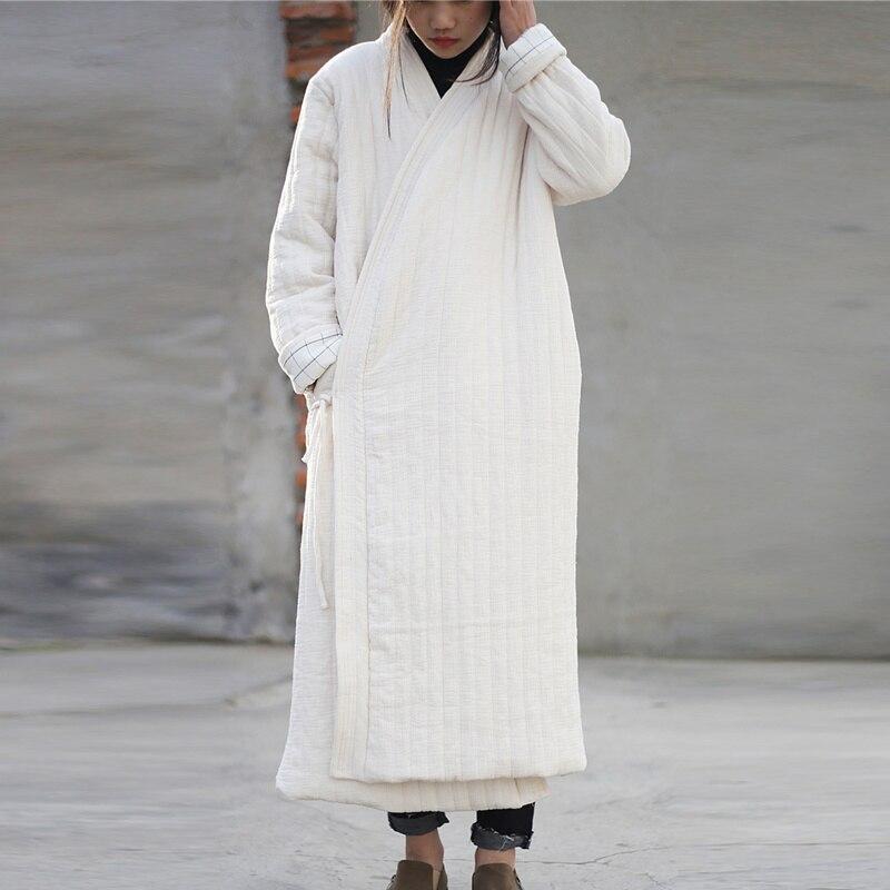 Johnature Women Cotton Linen Parkas Coats 2019 Winter New Vintage Loose Lace Up Solid Color Large