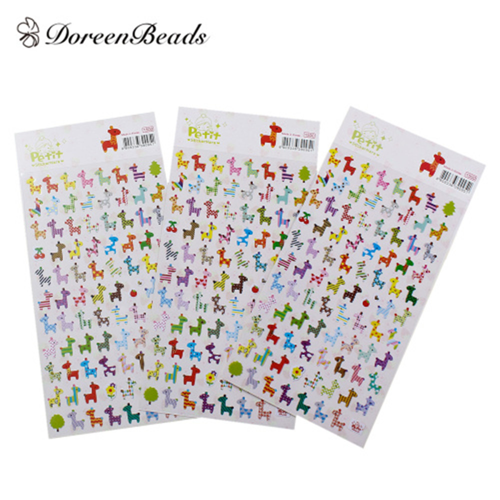 DoreenBeads Easter Paper Multicolor DIY Deco Stickers Rocking Horse Pattern At Random Scrapbooking Craft 17cm x 9.5cm, 2 Sheets