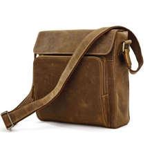 กระเป๋าวินเทจจริงบ้าม้าหนังแท้ผู้ชายของMessengerกระเป๋าสีน้ำตาลสีครอสตัวหนังวัวผู้ชายกระเป๋าสะพาย# VP-J7051
