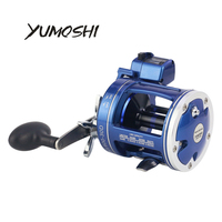 YUMOSHI Fishing Reel ACL600 30D/AC60 30D/ACL600 50D Blue Drum 5.2:1 Gear Rtio 12 BB with Counter Fish Rod Fishing Tackle Pesca
