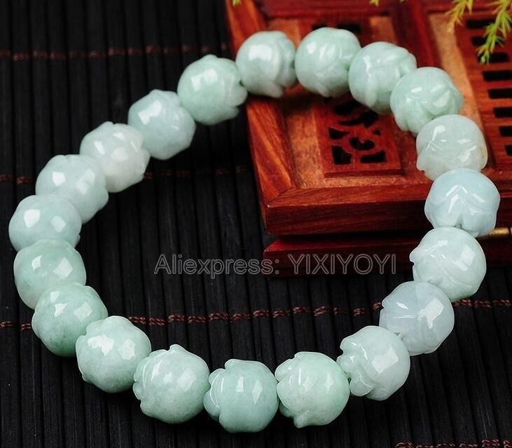 Belle 10mm naturel Grade A jadéite vert clair fleur perles rondes Bracelet chanceux Bracelets élastiques brins bijoux fins