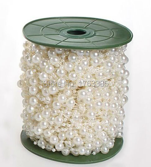 15 Meters Cream Silk Rose Pearl Beads Garland For Wedding Party Holiday Centerpiece Hanging Decoration Bride