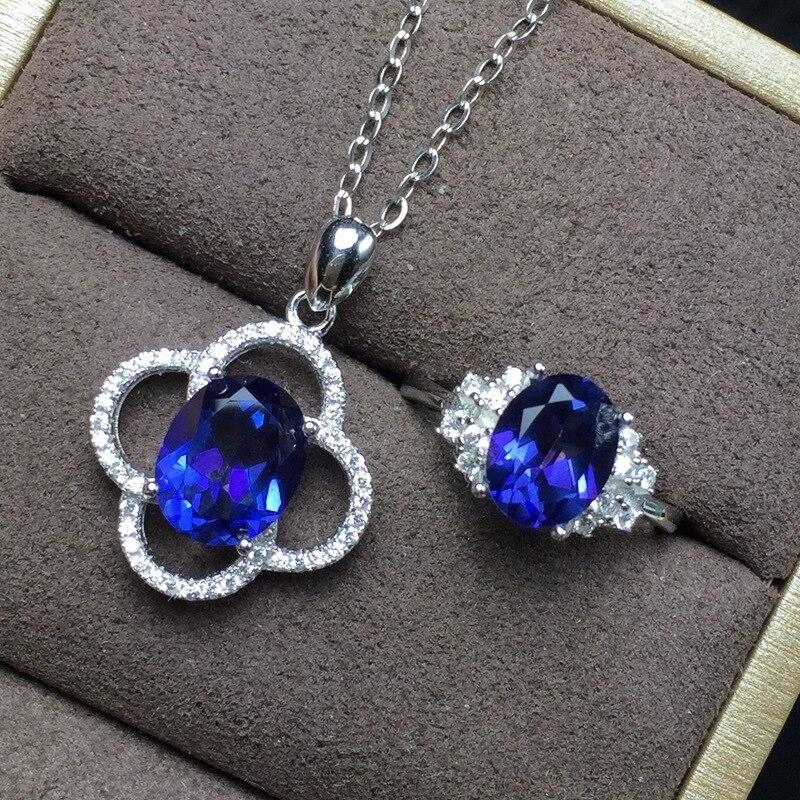 KJJEAXCMY boutique bijoux 925 argent sterling incrusté naturel bleu topaze pendentif + collier + bague ensemble nouvelle tenue chrysanthème o