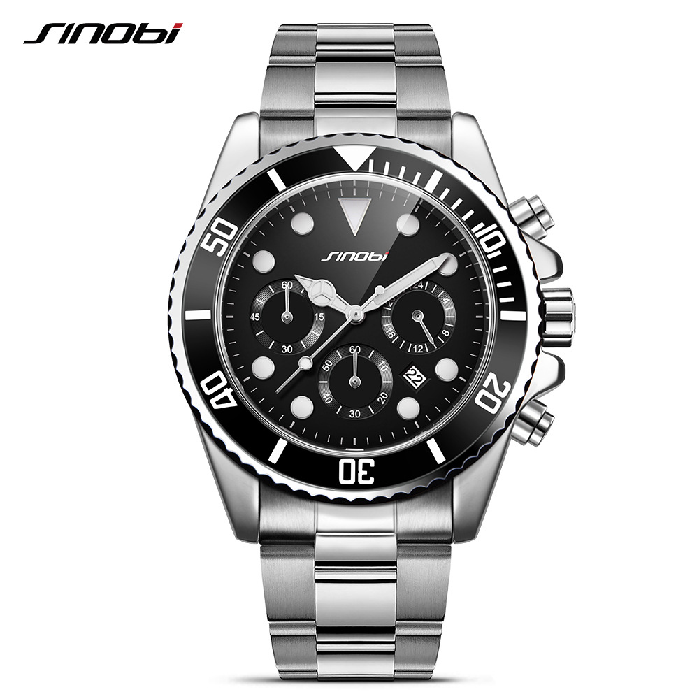 SINOBI Submariner Steel Watch Men Black Rotatable Clock Fashion Business Saat Chronograph Quartz Watch Sport Relogio Masculino sinboi submariner 316 full steel mens watches 2018 black rotatable fashion sports quartz men watch business relogio masculino