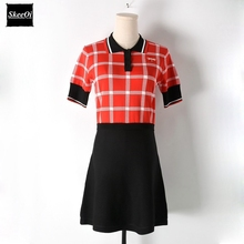 2018 New Office Lady Basic Sweater Dresses Women Short Sleeve Plaid Knitted Slim Casual Dress Spring Summer Knitwear Vestidos