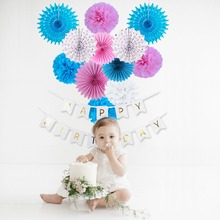 13pcs Baby Birthday Party Decorations Happy Banner Tissue Paper Fans Rosettes Shower Boy Girl 1st Day Decor