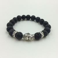 Lave stone beads bracelet with brass spacer beads of buddha head bracelet