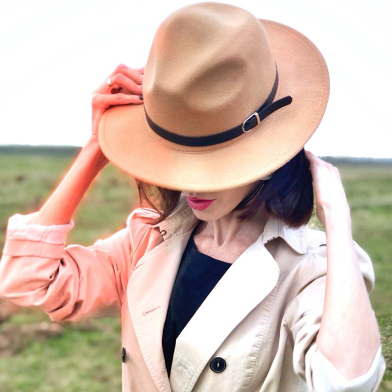 Winter Fedora Hat Women Men Imitation Woolen Classic British Autumn Flat Top Hat Laday Felt Jazz Fedora Hats For Men(China)