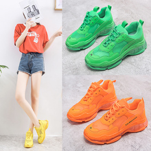 2019 Crystel Womens Chunky Sneakers Summer Breathable Mesh Casual Outdoor Sports Shoes Fluorescent Green Lace Dad Orange