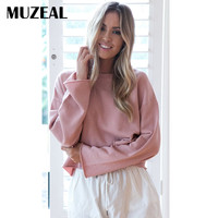 MUZEAL Autumn Young Girl Long Sleeve T Shirts Solid Color Loose Woman Tee Tops Cute Girl Brief Basic Fashion Tee Shirts 167