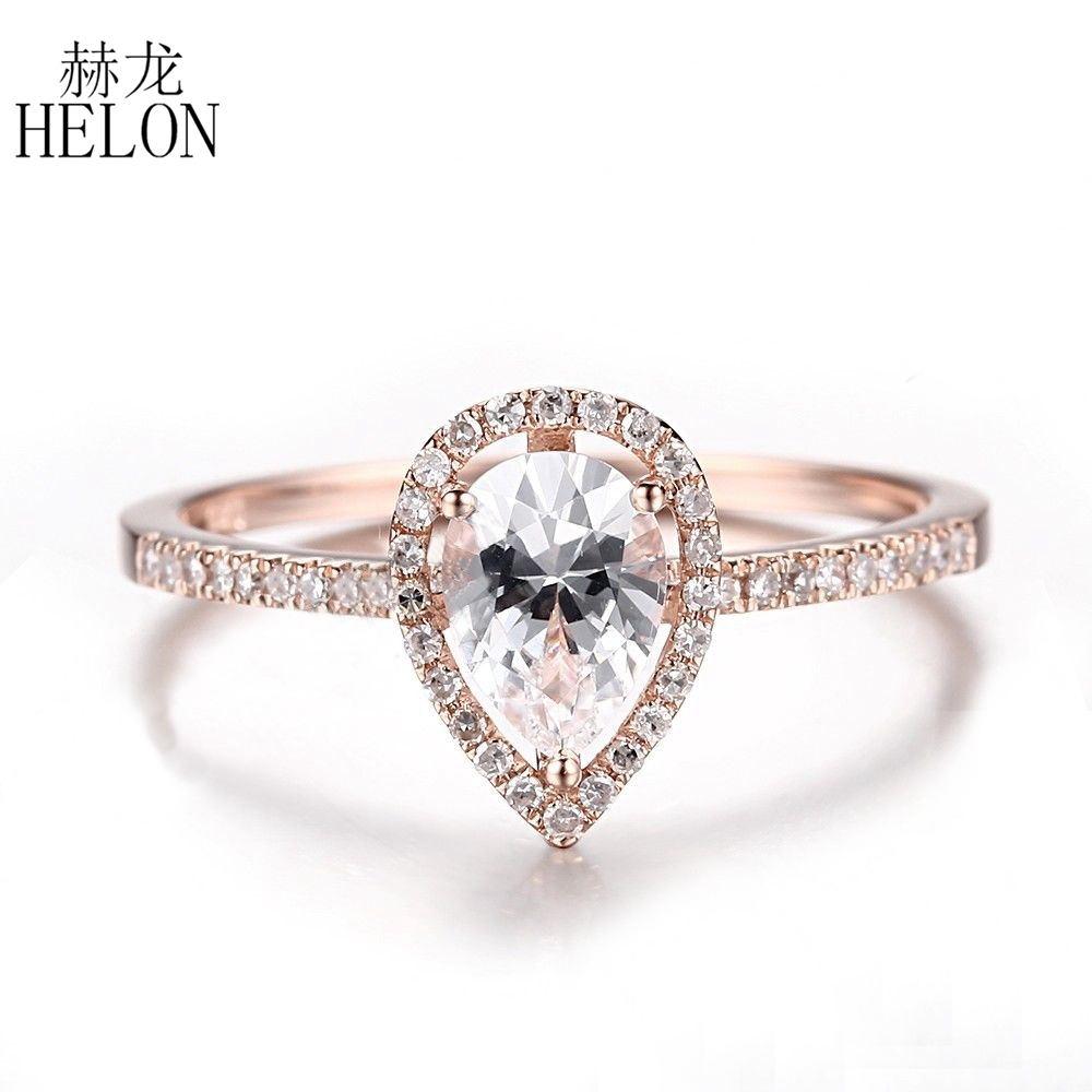HELON Solid 14K Rose Gold 7x5mm Pear cut Genuine White Topaz Ring Natural Diamond Engagement Wedding Ring for Women Fine Jewelry solid 14k rose round 13mm gold diamond natural blue topaz ring wedding ring hot sale