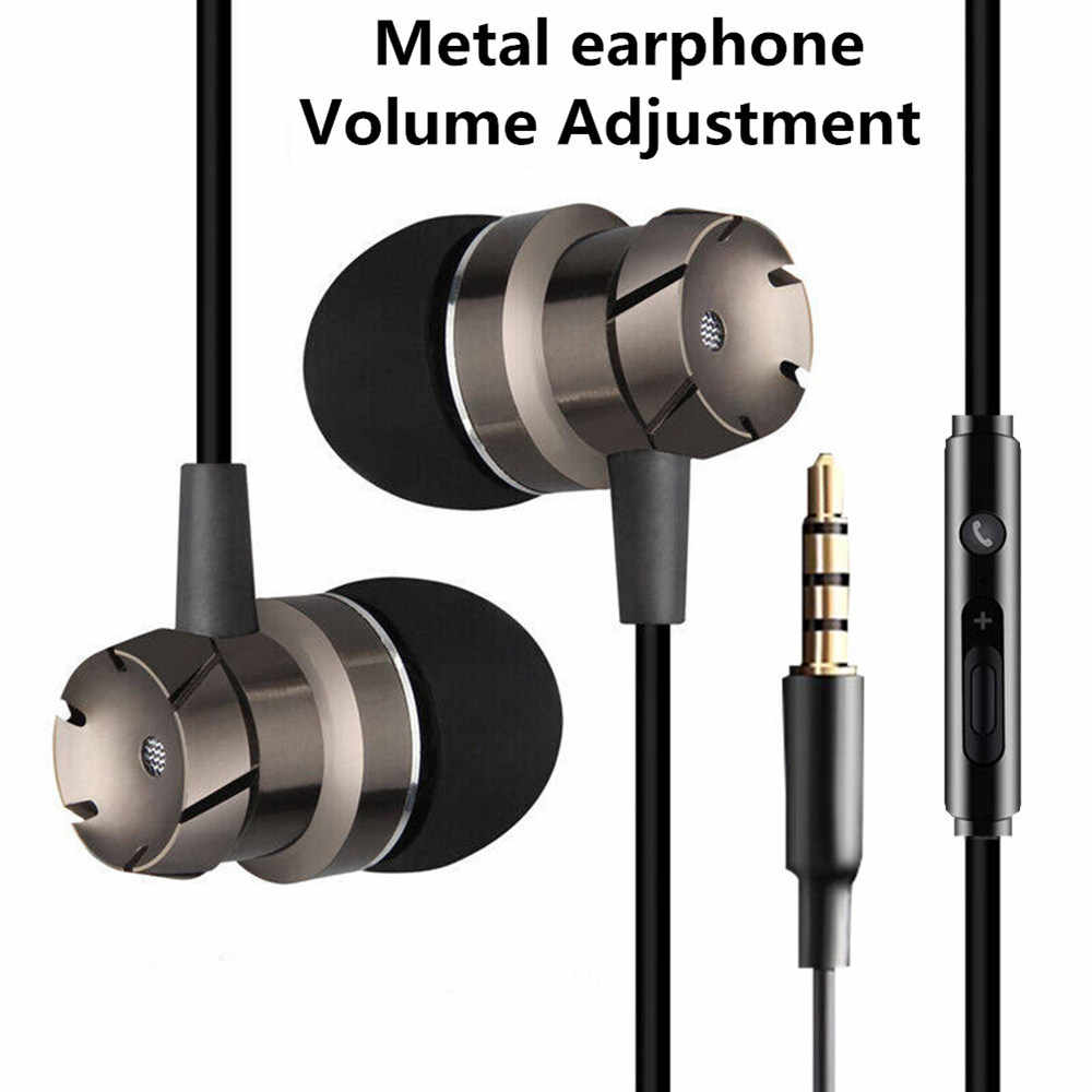 3.5Mm Stereo Headset Mikrofon Sport Suara Bass Earphone MP3 PC Gaming Auriculares untuk IOS Android Ponsel Metal Di-telinga