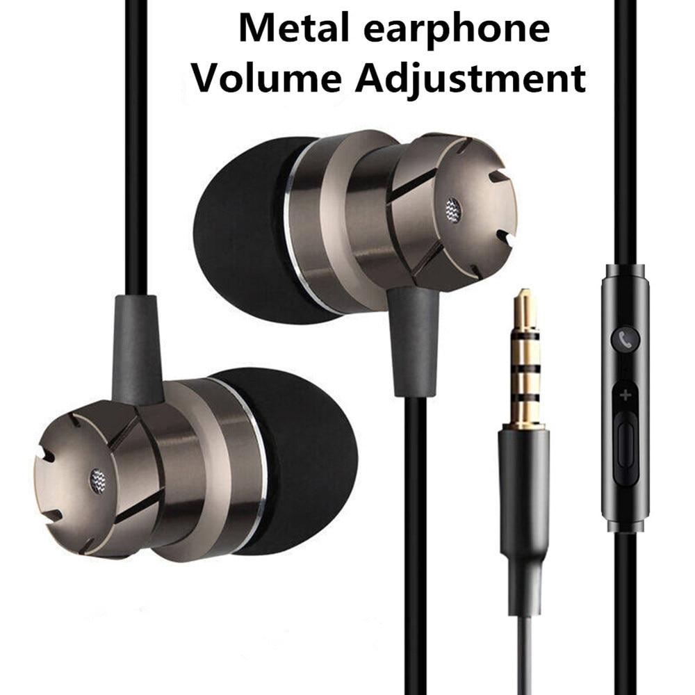 Auricular audífono Micrófono estéreo de 3,5mm Auriculares deportivos de Bajo sonido MP3 Auriculares de juego para IOS Android Teléfono de Metal en la oreja