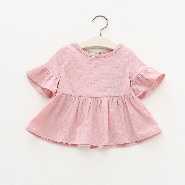 Cute Cotton Blouse with O-Neck