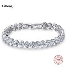 Trendiga Kvinnliga Armband AAAAA Zircon CZ 925 Sterling Silver Crystal Engagement Bröllop Armband för kvinnor Smycken