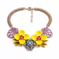 Women Vintage Fashion Jewelry Big Yellow Resin Flower Chunky Choker Necklace Accessories