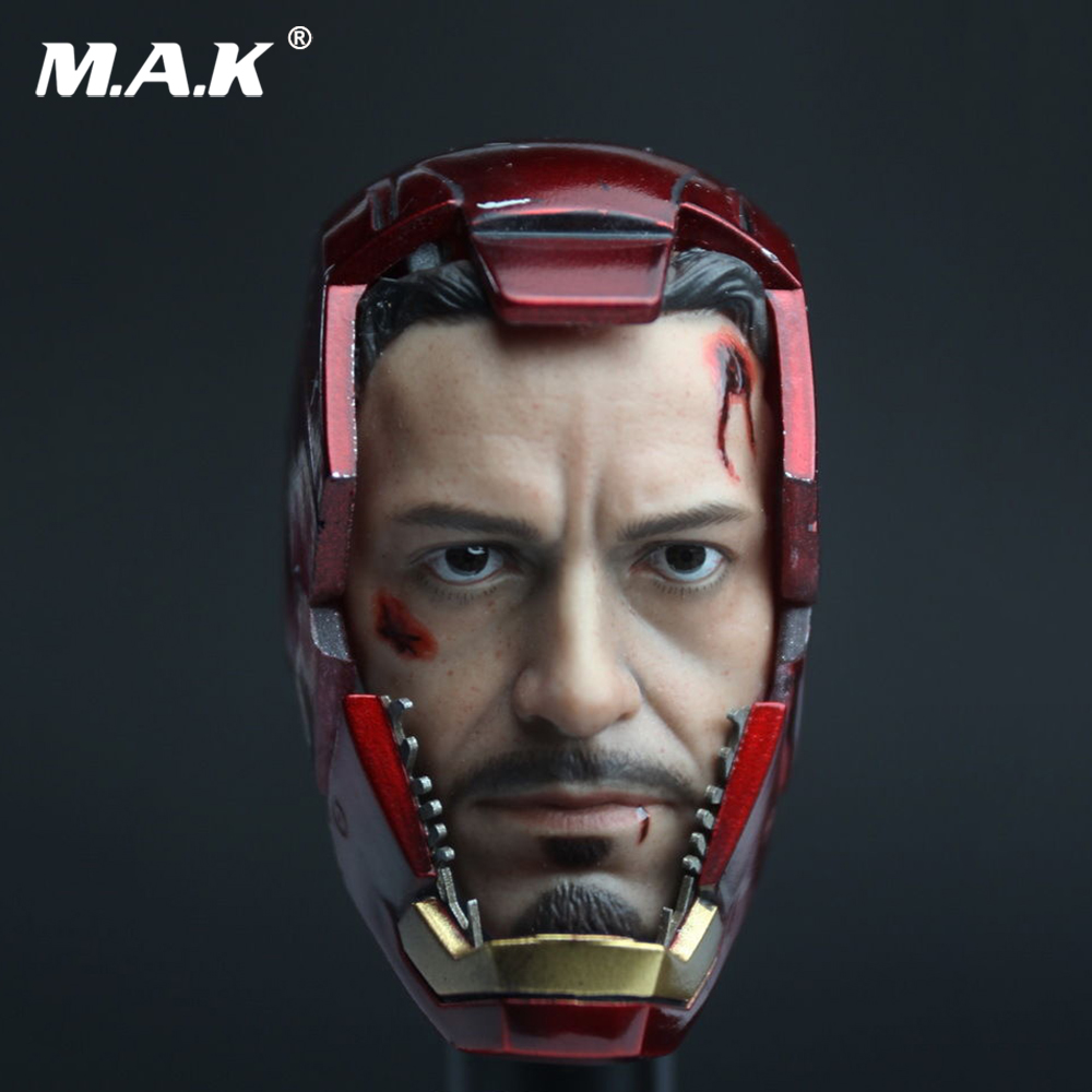 1/6 Scale Iron Man MK7 Tony Wounded Head Sculpt Carving With Mask CGL T-07 Male Headplay for 12 inches Action Figure цена