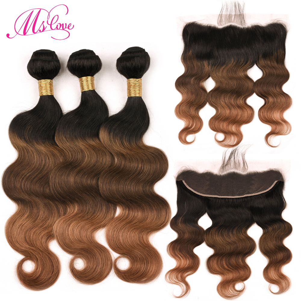 Ms Love Hair Tb/4/30 Ombre Body Wave Human Hair Bundles With Lace Frontal Closure 13*4 Remy Brazilian Hair Bundles With Frontal