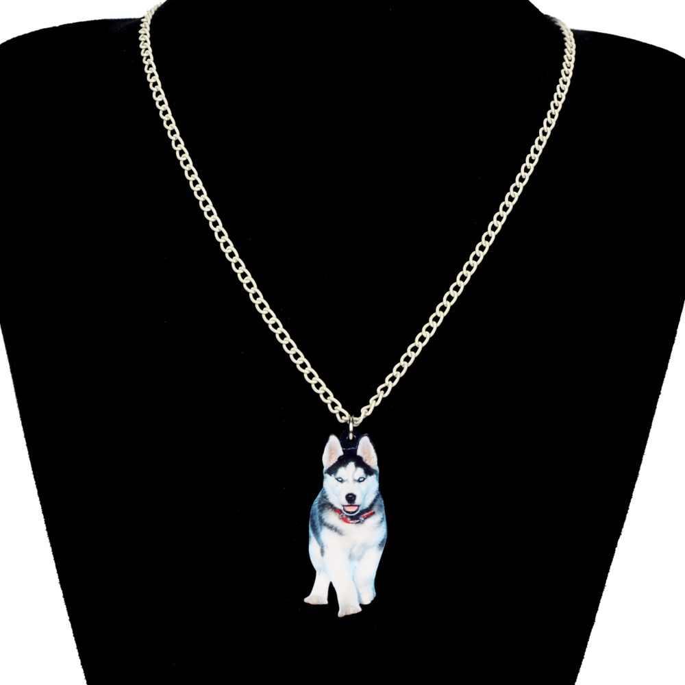 WEVENI Acrylic Hợp Thời Trang Siberian Husky Con Chó Vòng Cổ Dây Chuyền Mặt Dây Chuyền Choker Anime Động Vật Trang Sức Cho Phụ Nữ Cô Gái Hot Bán Buôn Quà Tặng