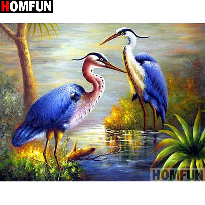 "HOMFUN Full Square/Round Drill 5D DIY Diamond Painting ""Animal bird"" 3D Embroidery Cross Stitch 5D Home Decor A13709"