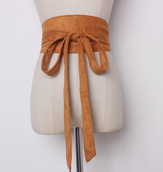 Women's Runway Fashion Faux Suede Leather Cummerbunds Female Dress Corsets Waistband Belts Decoration Wide Belt R790