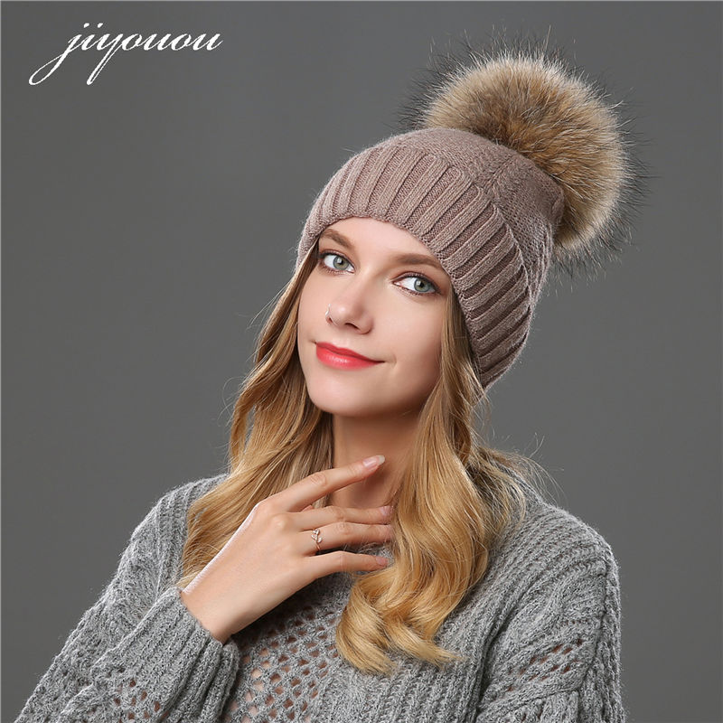 JIYOUOU 2017 hats for women Solid color Mink Fur Ball Cap PomPom winter beanie fur wool