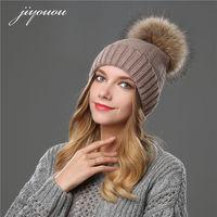 JIYOUOU 2017 hoeden voor vrouwen Effen kleur Minkbont Bal Cap PomPom winter beanie bont wol hoed gorro feminino inverno touca inverno