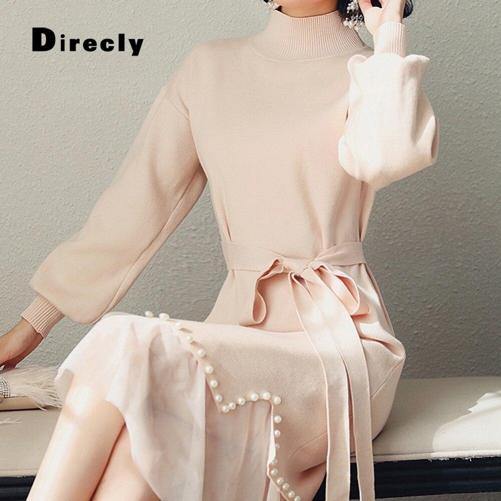 Direcly2018 herbst und winter neue frauen ins mode pullover kleid Hong Kong stil perle net zwei stück stricken kleid weibliche-in Kleider aus Damenbekleidung bei  Gruppe 1