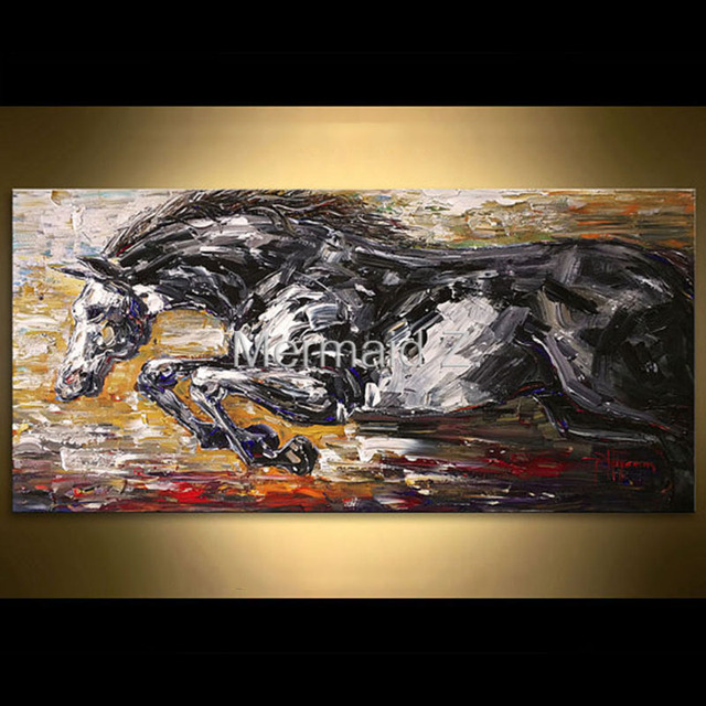 Hand Painted High Quality Silver Running Horse Textured Palette